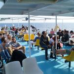 People enjoy the cruise in Mount Athos