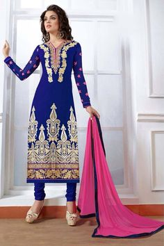 Navy Blue Georgette Designer Suit