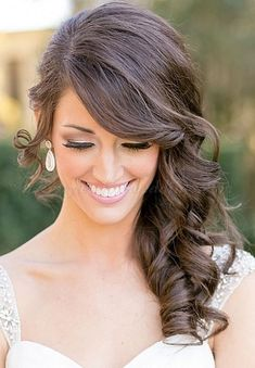 nice side swept hair half up half down bridal - Google Search...