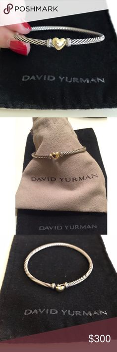 Authentic David Yurman Heart Bracelet Authentic David Yurman cable collectibles heart bracelet. Sterling silver and 18 karat yellow gold heart! Cable hook clasp! Like new David Yurman Jewelry Bracelets