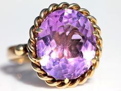 Antique 14k Gold and 9 Carat Bright Purple Amethyst Ring