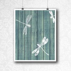 Dragonfly Print on Wood, 12x18 and 8x10 Digital Download, Dragonflies Printable, Nature Art, Blue wood boards, Teal Wall Art, Spring Decor Dragonflies are a symbol of change and transformation. Change and transform your home decor with this elegant print. This is a digital