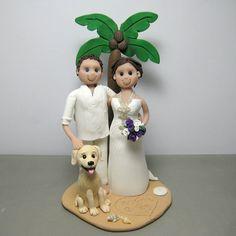 DEPOSIT for a Beach Theme Palm Tree Custom made Polymer Clay Wedding Cake Topper