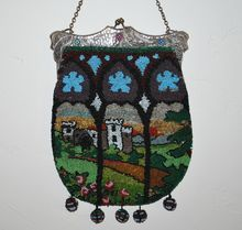 Beaded Stylized Castle Purse Hammered Jeweled Frame at www.rubylane.com