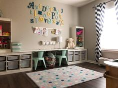 IKEA's Trofast storage system is a godsend for parents looking to bring organization and style to nurseries. Ikea Playroom, Ikea Kids Room, Toddler Playroom, Playroom Design, Kids Room Design, Ikea Kids Desk, Ikea Trofast Storage, Kids Room Organization, Kids Storage