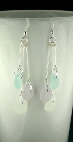 Dangle Earrings Beach Earrings GENUINE Sea Glass Jewelry - Do you find yourself interested in handmade DIY jewelry? Have you contemplated figuring out how to - Crystal Earrings, Crystal Jewelry, Beaded Earrings, Beaded Jewelry, Silver Jewelry, Gold Earrings, Jewlery, Silver Ring, Flower Earrings