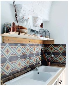 Beautiful geometric tile backsplash
