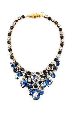 Theresa Mini-Sequin and Crystal Necklace in Blue by Shourouk Now Available on Moda Operandi