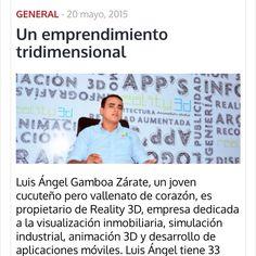 Excelente reportaje realizado al Gerente de Relity 3D   http://elpilon.com.co/un-emprendimiento-tridimensional/
