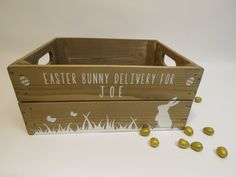 Personalised Easter Crate Wooden Easter Bunny by Applecratescouk Easter Party, Easter Gift, Easter Crafts, Easter Ideas, Christmas Eve Crate, Cute Easter Bunny, About Easter, Easter Baskets, Easter Hampers