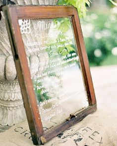 I love the window pane idea. We used it for our wedding but only as our guest signing not a menu board by helga Wedding Menu Cards, Wedding Signs, Diy Wedding, Wedding Invitations, Wedding Ideas, Wedding Foods, Wedding Vintage, Vintage Menu, Wedding Stationary