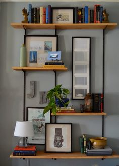 Wood shelving with black brackets