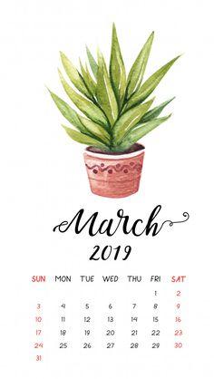 Watercolor cactus calendar for March 2019 Premium Vector Cacti Cactus Succulent Calendar Wallpaper, Iphone Wallpaper, Calendar March, Calendar 2020, Blank Calendar, Free Printable Calendar, Calendar Templates, Calendar Ideas, Email Templates
