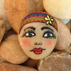 Excited to share the latest addition to my #etsy shop: Painted Rock Fun Whimsical Face Lady Girl Woman Mixed Media Art B http://etsy.me/2DKHV5F #art #painting #stone #colorful #mixedmedia #artsy #unique #unusual #nature