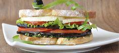 Sandwich de tomate, mozarela e berinjela | O que há para comer ?