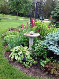 33 Inspiring Bird Bath Design Ideas For Front Yard - All For Garden Small Front Yard Landscaping, Outdoor Landscaping, Outdoor Gardens, Landscaping Ideas, Landscaping Borders, Landscape Design, Garden Design, Low Maintenance Backyard, Bird Bath Garden