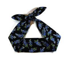 Rockabilly Self Tie Headband Pinup Hair Bow by BlackCatStitches