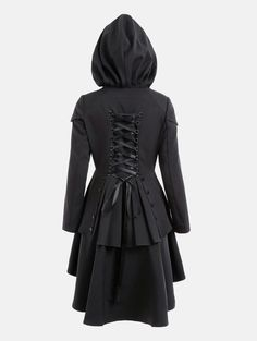 Lace Up High Low Layered Hooded Coat