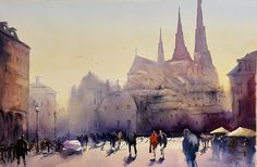 Gamla Torget in Uppsala, the Uppsala Catherdral in the back, watercolor Stefan Gadnell Uppsala, Stockholm, Watercolor, Painting, Art, Pen And Wash, Art Background, Watercolor Painting, Watercolour