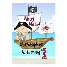 Pirate Birthday Invitations Cute Little Buccaneer Pirate 1st Birthday Invite