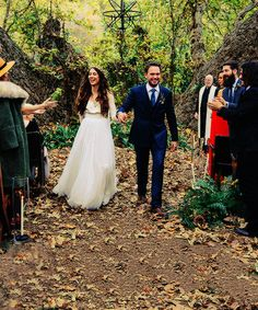 """Troian Bellisario & Patrick J. Adams tied the knot in a bohemian and romantic outdoor ceremony in Southern California on December 2016 """