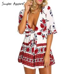 Simplee Apparel Boho red floral print women jumpsuit romper Summer style deep v neck sexy playsuit Beach short elegant overalls