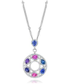 Cellini Jewelers Cool Tone Sapphire Pendant  Nothing says casual elegance like this cool colored sapphire pendant. Composed of 9.93 carats of natural blue, purple, and pink sapphires accented with 3.61 carats of round brilliants.
