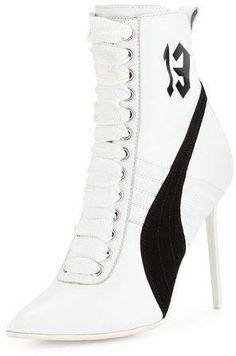 Fenty Puma by Rihanna Suede 105mm Sneaker Bootie, White/Black http://