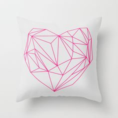 Heart Graphic Neon Version Throw Pillow by Mareike Böhmer Graphics - $20.00