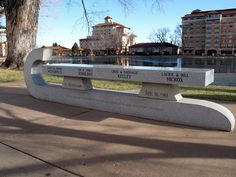 The old memorial skate blade bench sits outside the Broadmoor World Arena in Colorado Springs, CO.