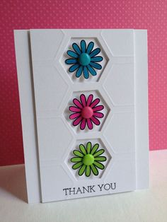 Brought hexagons and flowers together with a Simon Says Stamp die and flower stamp!...    I stamped, clear embossed, cut and colored the ...