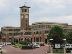 LITTLE ROCK, Arkansas - UNION STATION, using fashionable Renaissance Revival & Gothic Revival styling including a soaring clock tower & entrance loggia. Little Rock Arkansas, Revival Architecture, Old Trains, Union Station, By Train, Lodges, Missouri, Places Ive Been, Entrance