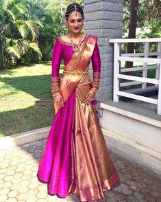 23 Elegant Saree Lehenga Designs For The South Indian Brides! Lehenga Saree Design, Half Saree Lehenga, Lehenga Designs, Saree Dress, Anarkali, Ghagra Saree, Sari Blouse, Saree Wearing Styles, Saree Styles