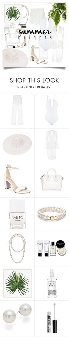 """""""Summer in White"""" by poly-closet ❤ liked on Polyvore featuring Givenchy, Melissa Odabash, Maison Michel, Kenneth Cole, Nails Inc., Bobbi Brown Cosmetics, Pottery Barn, Herbivore, AK Anne Klein and NYX"""