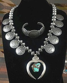 Item #839E- XLG Heavy Vintage Taos Coin Squash Necklace w/Turquoise Nugget Naja and Bracelet Set by Buffalo Dancer