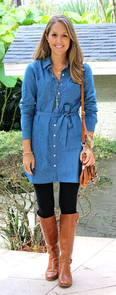 Easy outfit - I have all these items. Chambray dress, black leggings, riding boots