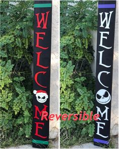 Nightmare before Christmas Welcome Sign Reversible Jack Skellington Nightmare Before Christmas Decorations, Nightmare Before Christmas Halloween, Halloween Christmas, Diy Halloween Decorations, Christmas Time, Etsy Christmas, Wood Decorations, Christmas Christmas, Happy Halloween