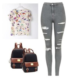 """""""Back to School Pu leather Fashion Backpack"""" by fab-life-939 ❤ liked on Polyvore featuring Topshop"""