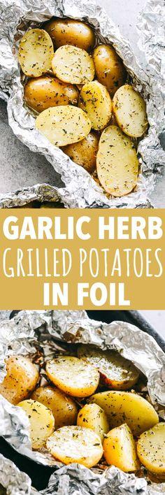 Garlic Herb Grilled Potatoes in Foil - Diethood