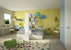 Modern bedrooms for children and teens 2017 – Bedroom with two single beds - Girl Room, Girls Bedroom, Bedroom Decor, Shared Bedrooms, Modern Bedrooms, Basement Bedrooms, Basement Bathroom, Home Decor, Single Beds