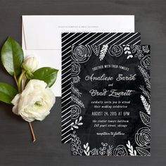 Lush blooms chalkboard style invite by Hooray Creative for elli.com