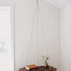 Live Edge Bedside Table Suspended From The Ceiling