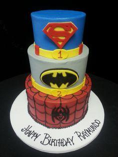 Cookie Jar Bakeshop I Custom Cakes I Birthday Cake I Super Hero Themed Birthday Cake I Spiderman Cake I BatmanCake I Superman Cake I Red, Grey, Blue Birthday Cake I Comic Con Cake