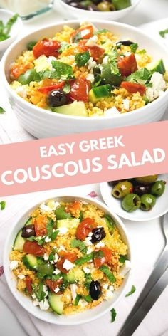 20-minute Greek Couscous Salad makes a great quick weeknight dinner but it's also perfect for parties! This easy recipe is sure to be a crowd-pleaser. Fun Easy Recipes, Potluck Recipes, Spring Recipes, Side Dish Recipes, Healthy Recipes, Party Recipes, Delicious Recipes, Side Dishes For Bbq, Vegetable Side Dishes