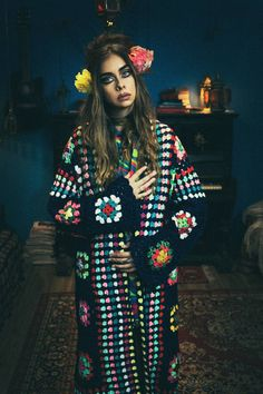 TRUE HANDMADE rainbow psychedelic granny square crochet coat