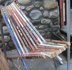 Seen in (Cold Spring) New York: Hockey Stick Chair : TreeHugger Hockey Decor, Hockey Room, Hockey Crafts, Crosse De Hockey, Robinson, Spring In New York, Hockey Sticks, Good Ol, Modern Chairs