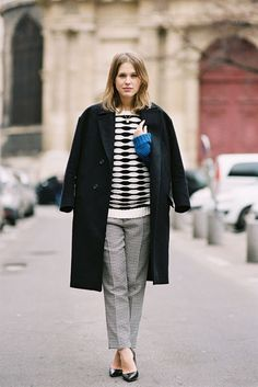 Vanessa Jackman. I really love the geometric sweater paired with the pants, very classy.