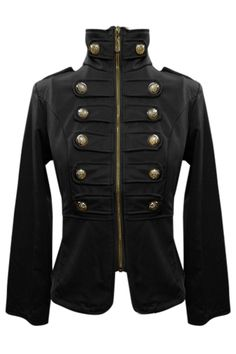 Gorgeous Black Suede Military Jacket with Brass Buttons