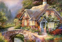 Load image into Gallery viewer, Meian Cross Stitch Embroidery Kits Season River House Cotton Thread Painting Thread Painting, Oil Painting On Canvas, Diy Painting, Thomas Kinkade, Home Decor Wall Art, Home Art, Belle Image Nature, Intermediate Colors, Cottage Art