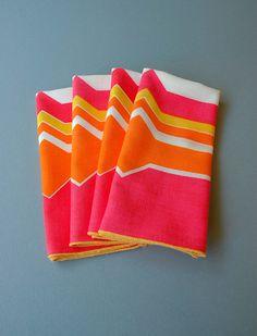 Vintage Vera Napkins - Graphic Pink / Orange / Yellow / White by luola on Etsy.